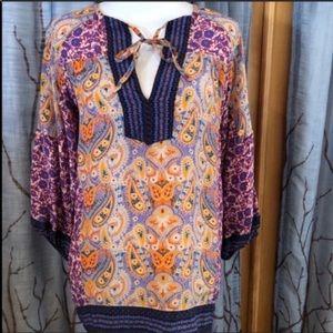 Nwot Tolani S 100% silk paisley boho tunic top